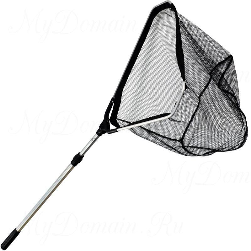 Подсак Zebco для рыбы Triangle Tele Landing Net нейлоновый, быстросохнущая сетка ПВХ размер 60х60х50 см, телескопическая ручка длина 2,40 м.;