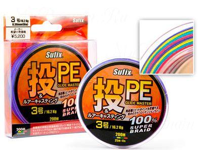 Плетеный шнур Sufix PE Glide Master Multicolor 135м 1.2 (0,185 мм)