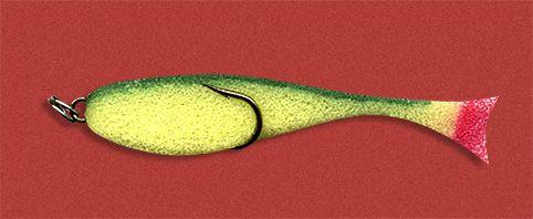 Рыбка поролоновая 10см на двойнике желто-зелен.