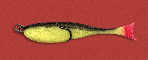 Рыбка поролоновая 10см на двойнике желто-черн.