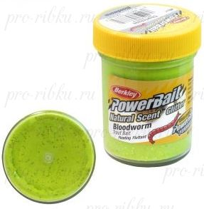 Паста Berkley 50g Powerbait Natural Scent Glitter Trout Bait Bloodworm Chartreuse (Шартрез/блестки)