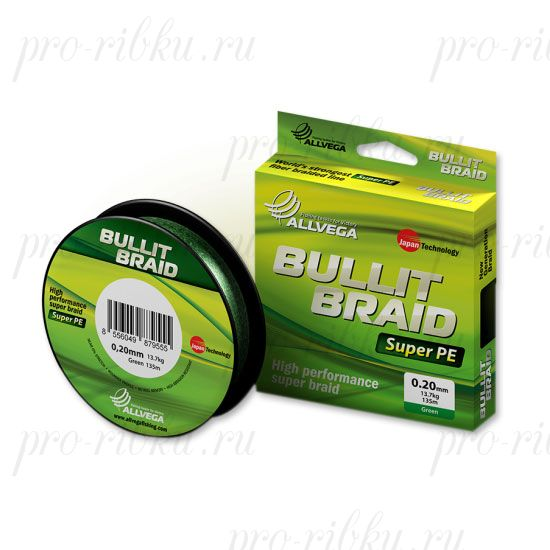 Плетеный шнур Allvega Bullit Braid 135M Dark Green 0,16mm