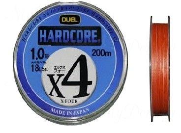 Плетеный Шнур Duel PE Hardcore X4 200m Orange #1.2 (0.191mm) 9.0kg
