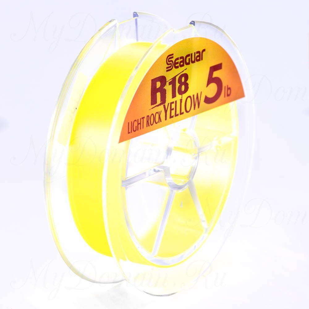 Леска флюорокарбоновая Kureha Seaguar R-18 Light Rock желтая №1.2; 0,185 мм; 5 lb/2,26 кг; 100 м.