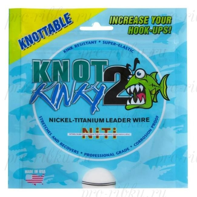 "Титановый стрейч Knot2Kinky Ni-Ti Leader Wire 1х7 100 ft 25lb (11.36 кг), 0.144"", 30.48 м"