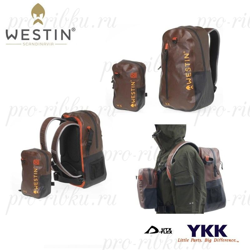 Рюкзак Westin W6 Wading Backpack&Chestpack, водонепроницаемый, размер 45*26*16 (рюкзак)/26*16*7,5см (доп.сумка) , цвет Grizzly Brown/Black