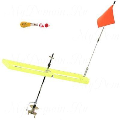 Жерлица Frabill Arctic Fire Tip-Up Ready to Fish с глубиномером, шнуром, маркером; прямоугольная, складная, желтая.