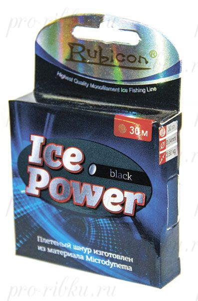 Плетеный шнур RUBICON Ice Power 30m black, d=0,04mm