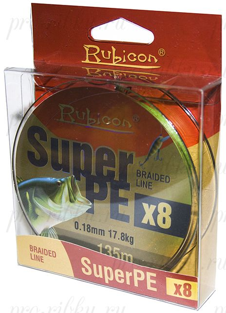Леска плетеная RUBICON Super PE 8x 135m yellow, d=0,45mm