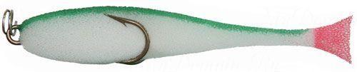 Рыбка поролоновая 7см на двойнике бело-зелен.