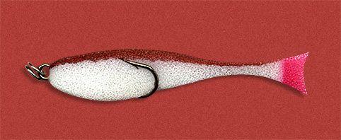 Рыбка поролоновая 7см на двойнике бело-коричн.