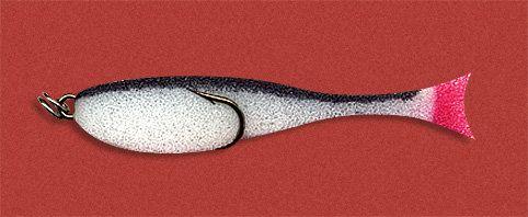 Рыбка поролоновая 7см на двойнике бело-черн.