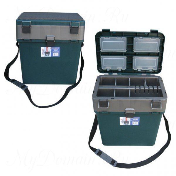 Ящик зимний, ТОНАР + пластиковый 360х390х180/260 см 19 л, зеленый