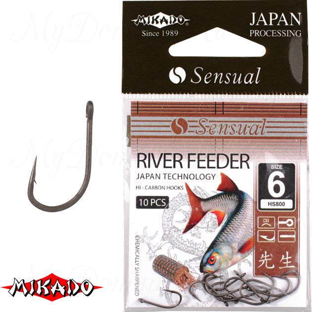 Крючки Mikado SENSUAL - RIVER FEEDER № 6 DB (с ушком) уп.=10 шт., упак