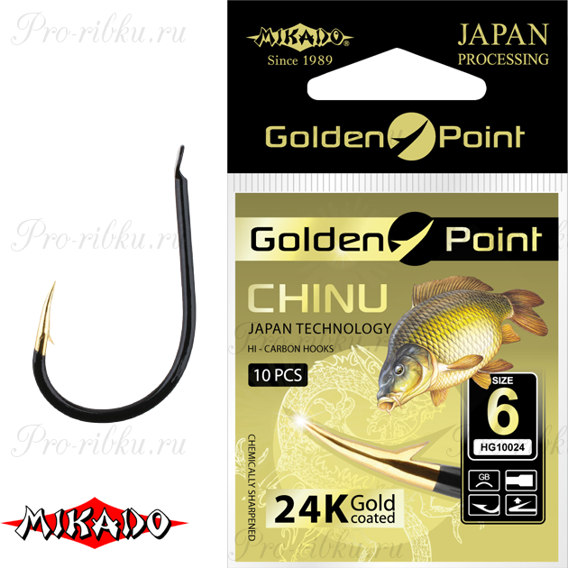 Крючки Mikado GOLDEN POINT - CHINU №  4 GB (с лопаткой) уп.=10 шт., упак