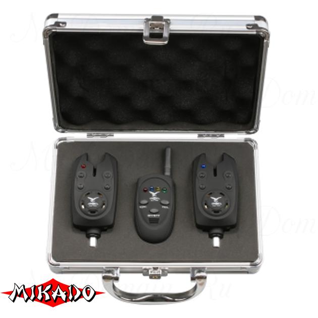 Набор электронных сигнализаторов поклёвки Mikado с пейджером (2 шт.) AMS01-HX-2000A, набор