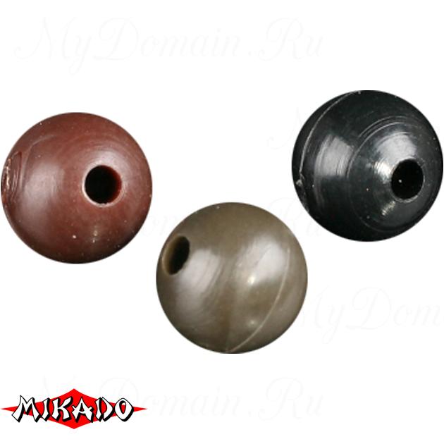 Силиконовые шарики Mikado 6 мм. (коричневый)  уп.=25 шт., упак