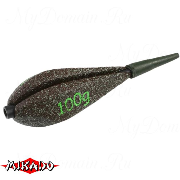Грузило карповое сменное Mikado. отцентрованное (тёмно-зелёный) 25G  100 г.  уп.=10 шт., упак