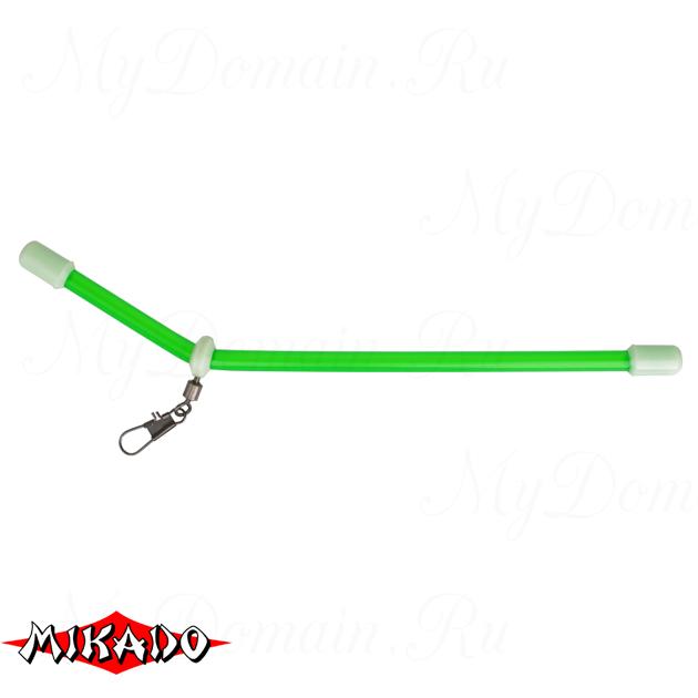 Трубка - антизакручиватель Mikado с вертлюжком и карабином L зелёная 20 см.  уп.=10 шт., упак