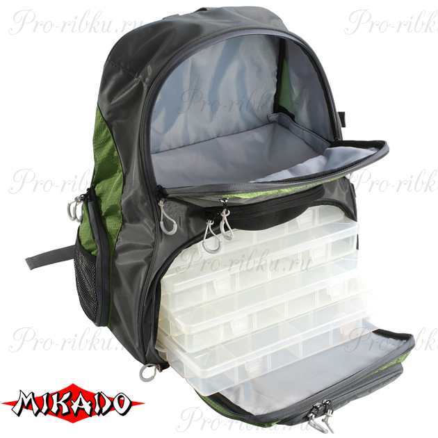 Рюкзак рыболовный с 4 коробками Mikado UWI-483809-B (48 x 38 x 23 см.), шт
