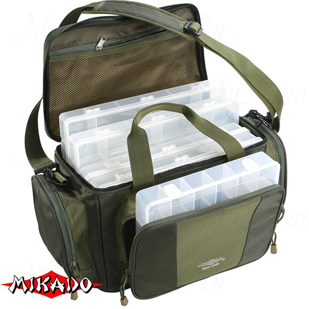 Сумка для рыболовных принадлежностей Mikado с 5 коробками  UWI-362401 (50 x 22 x 26 см.), шт