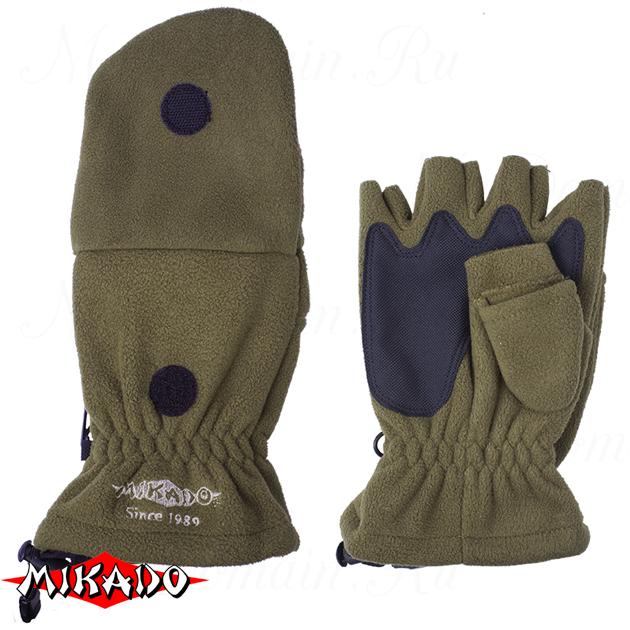 Перчатки рыболовные флисовые Mikado UMR-08G размер M, шт