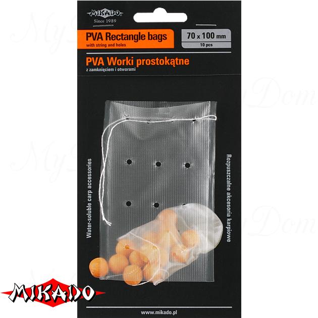 Пакеты ПВА Mikado с затяжкой, с отверстиями (прямоугольные) 70 x 100 мм.  уп.=10 шт., упак