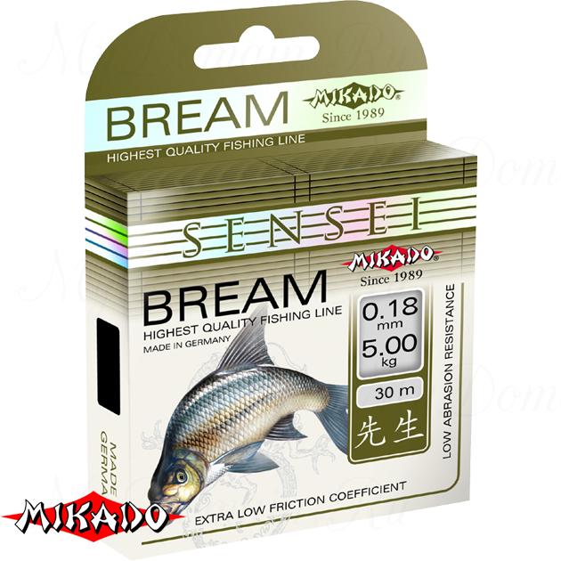 Леска мононить Mikado SENSEI BREAM 0,18 (30 м) - 5.00 кг.  уп.=10 шт., шт