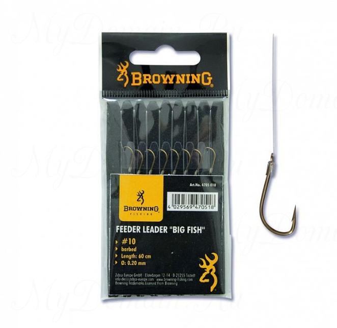 Крючки с поводками Browning BIG Fish №14 Bronze 0,18мм 60см 8шт