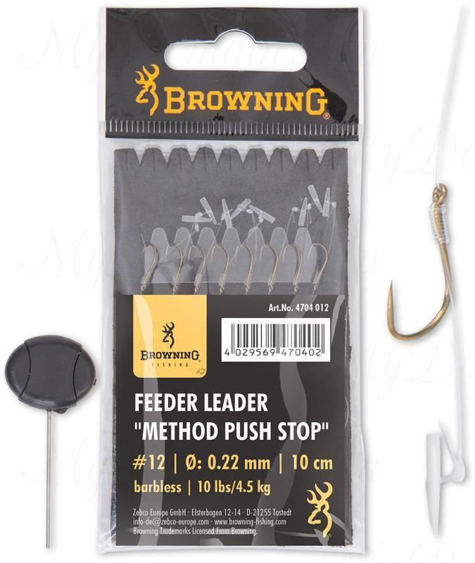 Крючки с поводками Browning Leader Feeder Method Push Stop с фиксатором (игла в комплекте)  для насадки  №14 0,18mm 10cm 6 шт